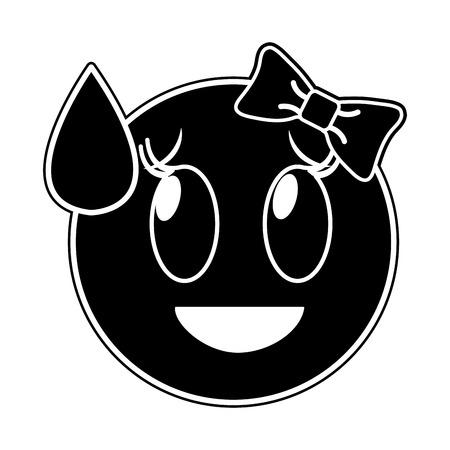 Silhouette ashamed laughing female vector illustration