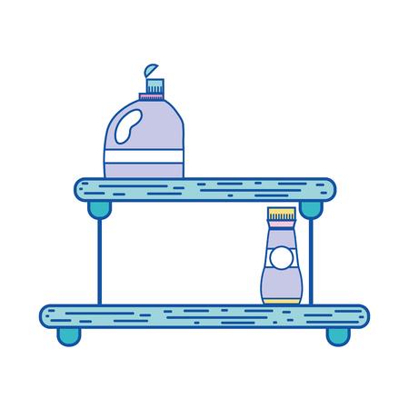 shelf with softener and detergent liquid bottle vector illustration Illustration
