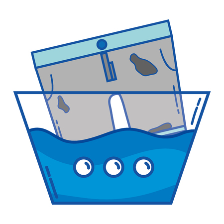 Dirty shorts soaking in pail with water vector illustration.
