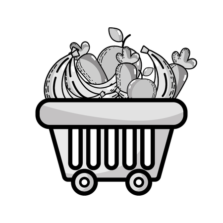 grayscale shopping basket with delicious fruits and vegetables vector illustration Illustration