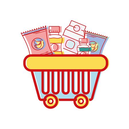 Cesta de la compra con deliciosos productos para comprar ilustración vectorial