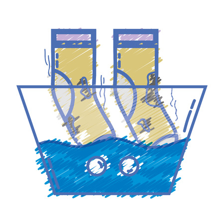 dirty socks soaking in pail with water vector illustration Stock Illustratie
