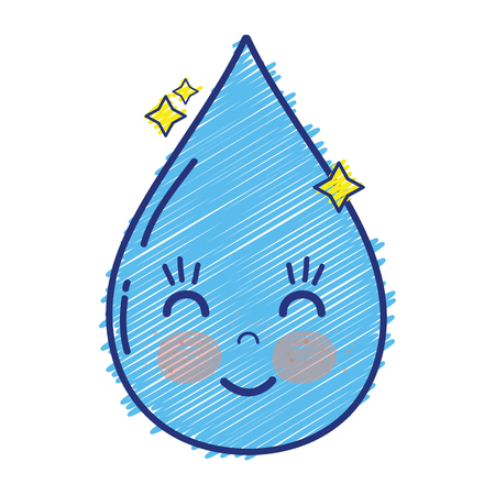 kawaii cute happy water drop vector illustration