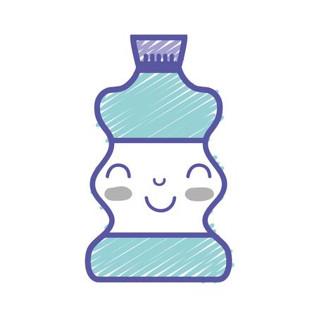 kawaii cute happy beverage bottle vector illustration Illustration