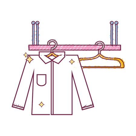 shelf design with clothes hanging icon vector illustration