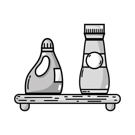 grayscale shelf with softener and detergent liquid bottle vector illustration Illustration