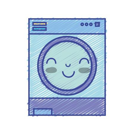 kawaii cute happy washing machine vector illustration