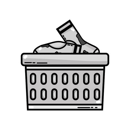 grayscale basket design with dirty clothes inside vector illustration Çizim