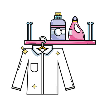 shelf with detergent bottle and clothes hanging vector illustration