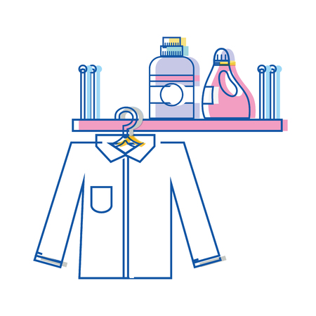Shelf with detergent bottle and clothes hanging vector illustration Vectores