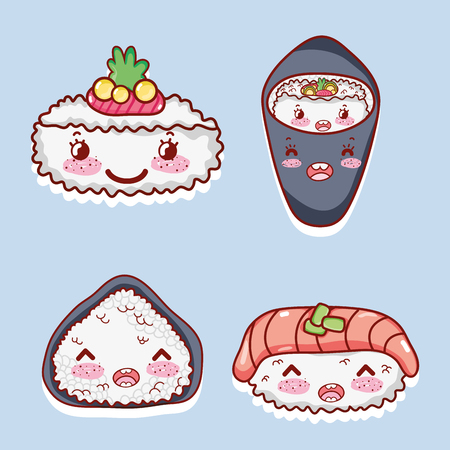 Collection of Asian food cute cartoon vector illustration graphic design