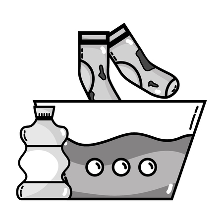 Grayscale water pail and dirty socks with bleach bottle Stock Illustratie