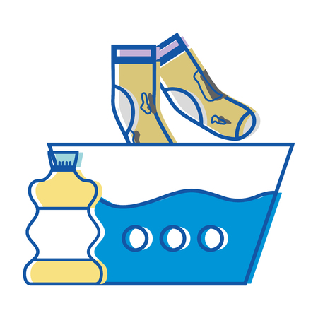 Water pail and dirty socks with bleach bottle Stock Illustratie