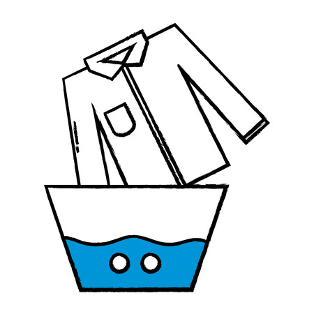 clean shirt soaking in pail with water vector illustration