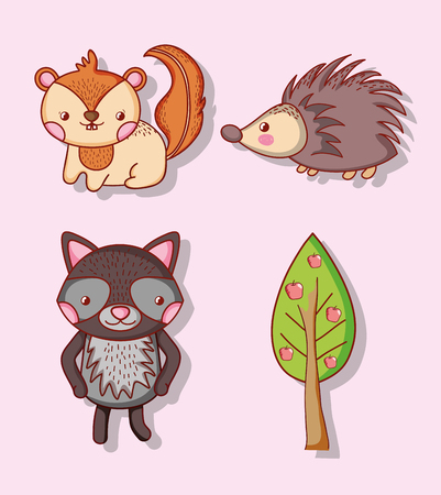 Collection of cute animals doodle cartoons vector illustration graphic design