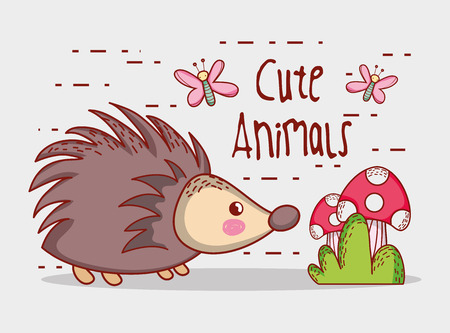 Porcupine in forest cute cartoon vector illustration graphic design