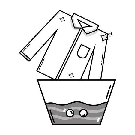 Grayscale clean shirt soaking in pail with water vector illustration Stockfoto - 96282423