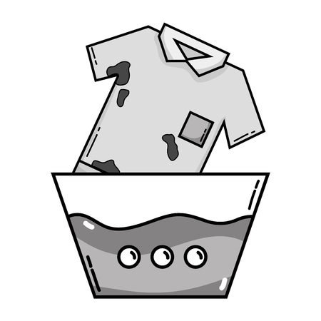 Grayscale dirty t-shirt soaking in pail with water vector illustration