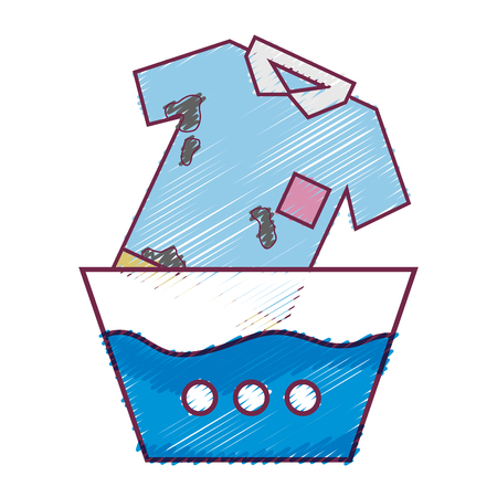 Dirty t-shirt soaking in pail with water vector illustration Stock Illustratie