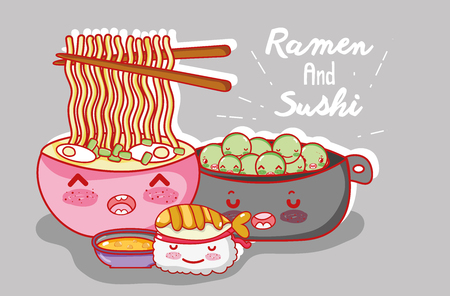 Ramen and sushi cartoon vector illustration Иллюстрация