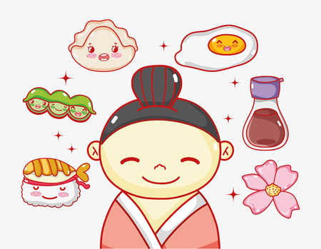 Japanese in love with food vector illustration
