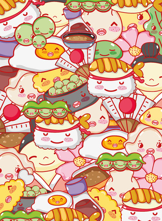 Japanese gastronomy background kawaii cartoons vector illustration graphic design.