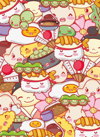 Japanese gastronomy background kawaii cartoons vector illustration graphic design.