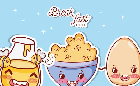 Cute breakfast kawaii cartoons vector illustration graphic design.