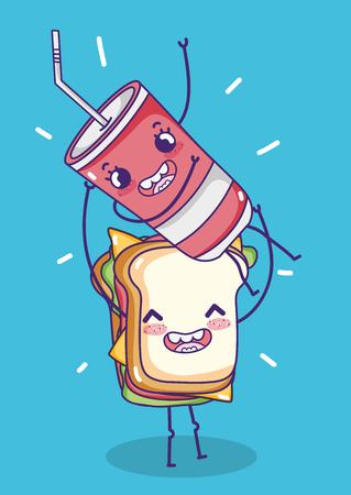 Sandwich with soda kawaii cartoon vector illustration graphic design