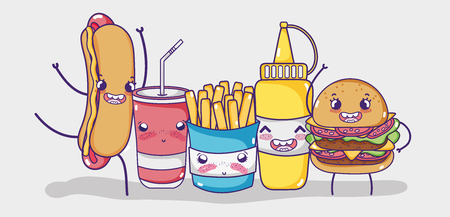 Fast food kawaii cartoon vector illustration graphic design