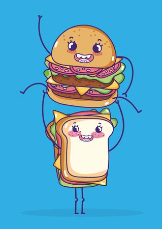 Sandwich and hamburger kawaii cartoons vector illustration graphic design