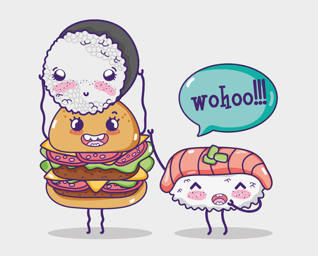 Hamburger and sushis kawaii cartoons vector illustration graphic design Ilustração