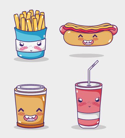 Fast food collection kawaii cartoons vector illustration graphic design
