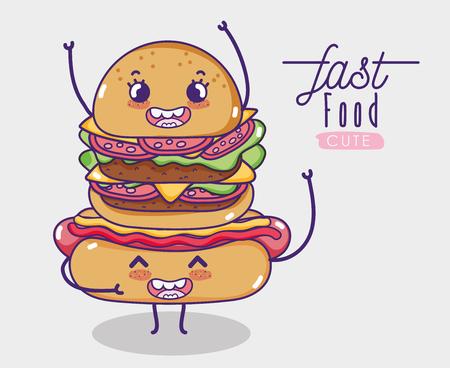 Hot dog with hamburger kawaii cartoon vector illustration graphic design