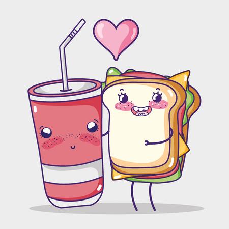 Sandwich and soda cup kawaii cartoon vector illustration graphic design Illustration