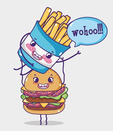 Hamburger and french fries kawaii cartoon vector illustration graphic design