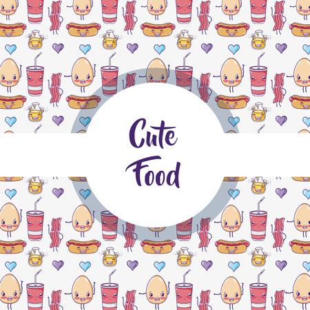 Cute food pattern background kawaii cartoons vector illustration graphic design Ilustração