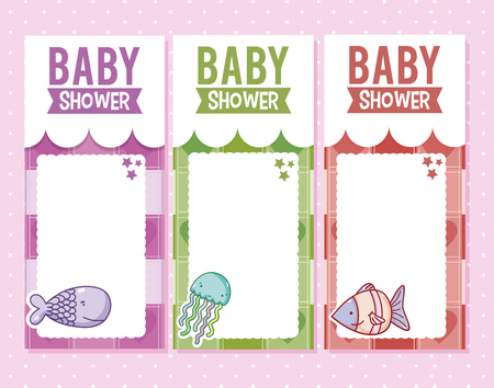 Baby shower invitation card for boys and girls vector illustration graphic design. Illustration
