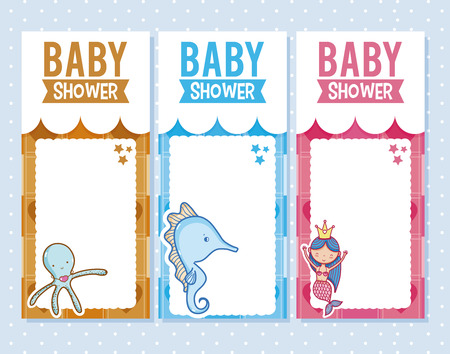 Baby shower invitation card for boys and girls vector illustration graphic design Illustration