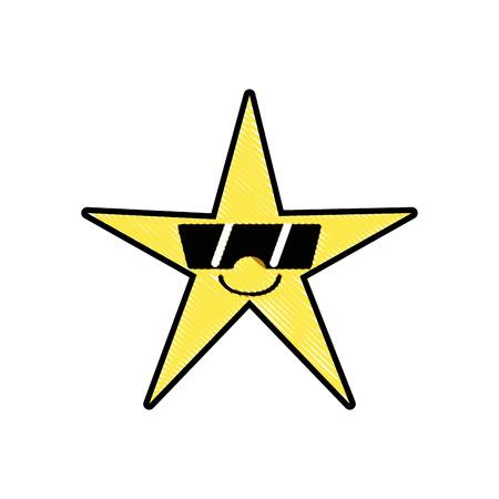 Grated smile shiny star kawaii with sunglasses vector illustration. Иллюстрация