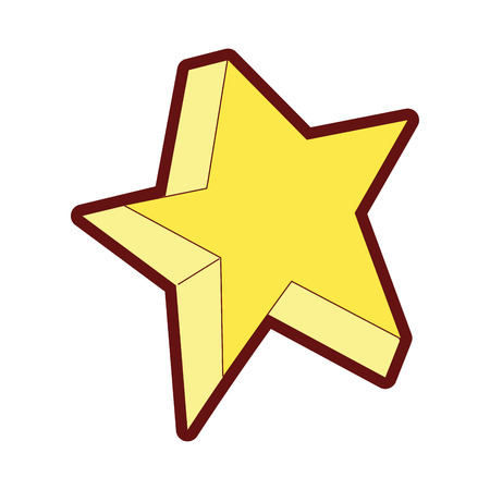 Line color cute bright star art design vector illustration. Vettoriali