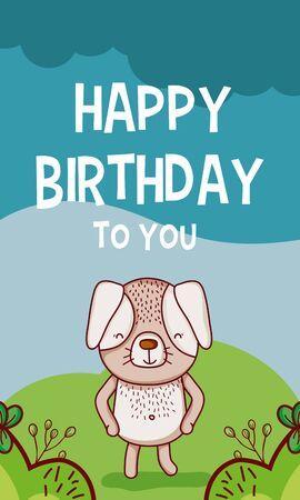 Happy birthday to you dog cartoon Illustration
