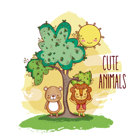 Cute animals in the forest vector illustration Illustration
