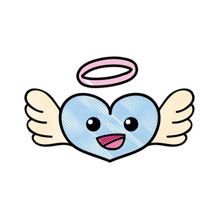 grated happy heart angel kawaii cartoon vector illustration Illustration