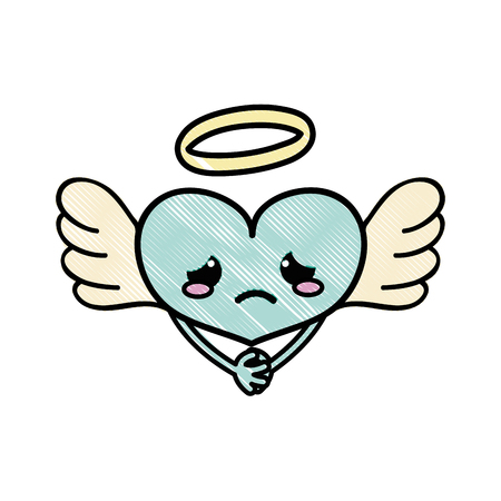 grated crying heart angel kawaii with arms vector illustration