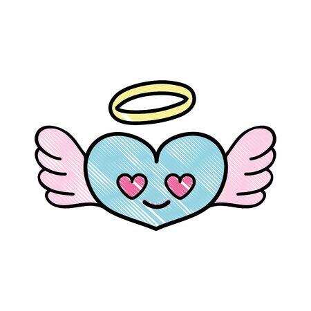 Heart angel in love cartoon illustration