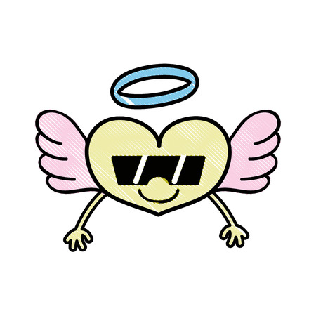 Grated heart angel with arms and sunglasses vector illustration Illustration