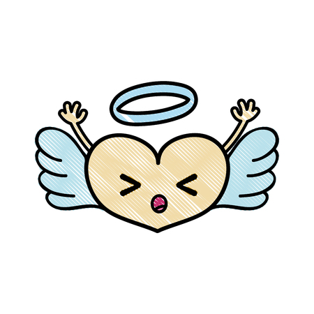 A sleeping heart angel character with arms