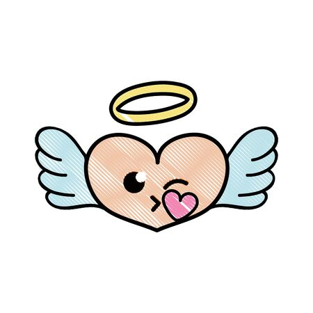 Grated heart angel cartoon vector illustration