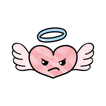 Angry heart angel cartoon icon Stock Illustratie